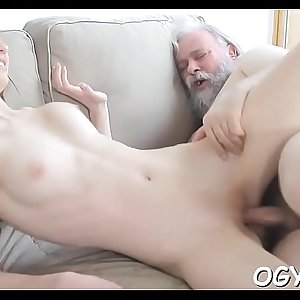 Mad old boy licks young vagina