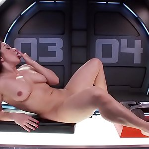 Big-titted hairless Milf on ass fucking machine