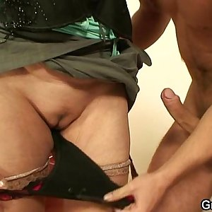 Old prostitute sucks and  rides his hard-on