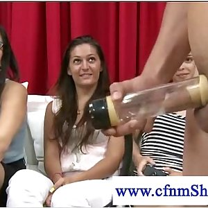 Cfnm dressed girls watch naked guy pumping himself