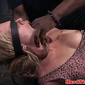 Bound sub fingered in interracial bdsm duo