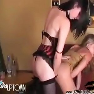 Hottie Miss Liz Vicious Fucks Trisha Uptown Hard with her Strap-on!!
