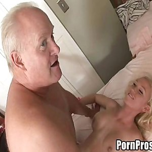 Young whore gives massage and pussy to old man