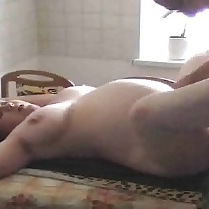 Shaved pregnant cheating wifey fucked in the kitchen