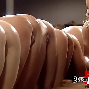 Lubed up lesbians fingering and ass fucking in xxx orgy