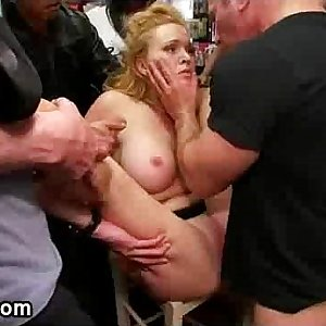 Busty bondage babe groped and fucked in public porn store total of strangers
